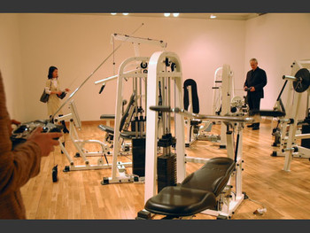 Gym machine operated by remote controls by Chinese artist Xu Zhen.