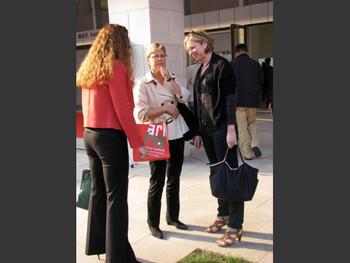 (L-R) Megan, Jane and Karen Smith in conversation.
