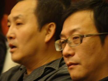 (L-R) Artists Wang Gongxin and Zhan Wang.