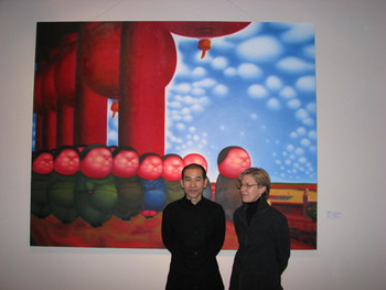 (L-R) Pan Dehai and Jane Debevoise at artist's solo exhibition organized by Triumph Gallery.