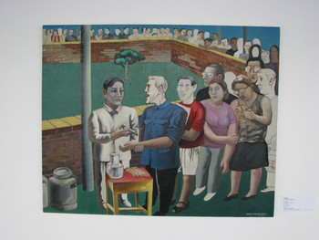 SAM: Wang Jinsong, Vaccination Station, oil on canvas, 1990.