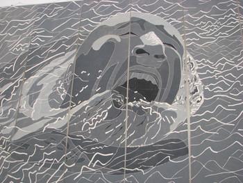 SAM: detail view of woodblock prints by Fang Lijun.