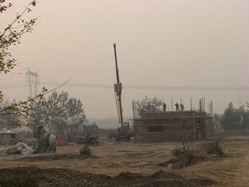 View of Songzhuang Art District construction site.