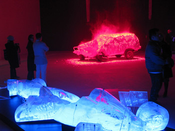 Opening Reception at Tang Gallery Beijing: installation by Li Hui