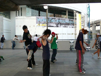 View from the BTS Sky Train Station which is a public platform for B-Boy street performance.
