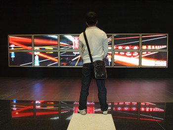 A viewer in front of the Lee Wen-Cheng's looped video, Blossom Series – Night Lives, 2009