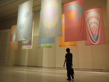 Louisa Bufardeci, Some Material Flags, 2008, seersucker fabric (10 pieces), 400x200cm each