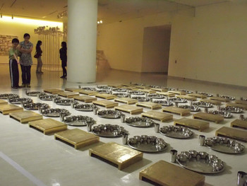 Cubodh Gupta, School, 2008, brass and stainless steel utensils, 556x561x11.5cm