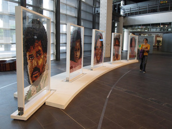 Reena Saini Kallat, Synonym, 2008, acrylic paint, rubberstamps, Plexiglas, 198x30.5x146cm (5 pieces)