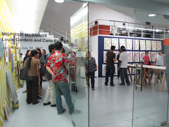 Opening night of Carlo Ricafort and Louie Cordero's exhibition, 'Misprint Messiahs', DAGC, 15 June 2011.