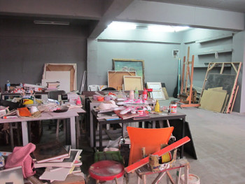 View of one of the artists' studios in Light & Space Contemporary, May 2011.