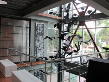 View of suspended sculptures by Jason Tecson in the exhibition 'Survivalism', Light & Space Contemporary, 7 May – 30 June 2011.