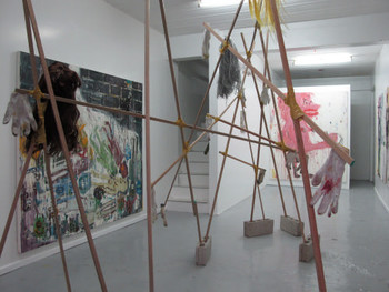 View of Pow Martinez's exhibition, 'March of the Pigs', Lost Projects, 6 October – 14 November 2010.
