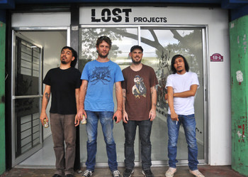 Artists Cos Zicarelli, Ben Quilty, David Griggs, and Jayson Oliveria, November 2010. Photo courtesy of Lost Projects.