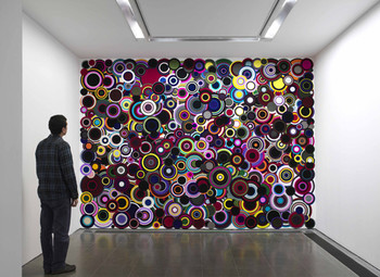 Bharti Kher, The Nemesis of Nations, 2008, Bindi wall work,