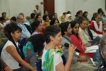 Art critic Nafisa Rizvi poses a question to the panel.