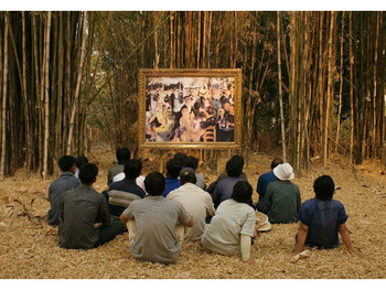 The Two Planets (Renoir's Ball at the Moulin de la Galette 1876 and the Thai villagers group II), 2008, video installation / photograph, courtesy of 100 Tonson Gallery.