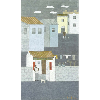 The Old Shatin Village, 2006, ink and colour on paper, 121 x 69 cm