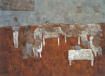 Chu Hing Wah, The Night Dormitory, 1996, ink and colour on Chinese paper, 76 x 106 cm