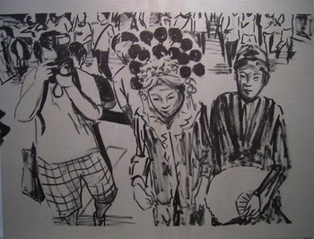 Image: Drawing of Gum Cheng and Clara Cheung's 2004 performance, ink on canvas.