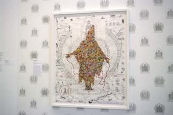 Gonkar Gyatso, Angel, 2007, stickers and pencil on treated paper