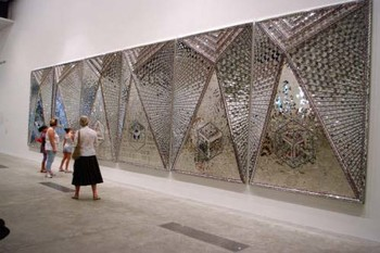 Monir Shahroudy Farmanfarmaian, Lightning for Neda, 2009, mirror mosaic, reverse glass painting, plaster on wood, six panels