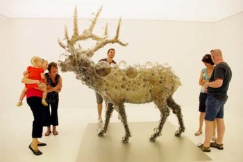 Kohei Nawa, PixCell-Elk#2, 2009, taxidermied elk, glass, acrylic, crystal beads