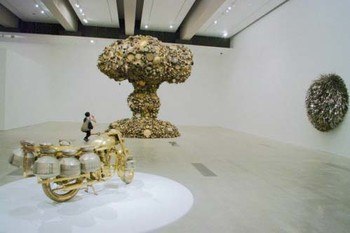 Three works by Subodh Gupta: Line of Control (1) (2008), Bullet (2006-07) and The other thing (2005-06)