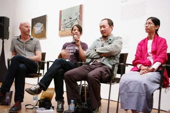 'The Mekong' artists in conversation; (left-right) Russell Storer (curator), Rich Streitmatter-Tran, Manit Sriwanichpoom and Wah Nu