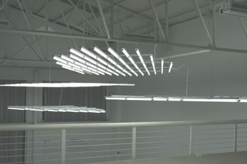 Li Jinghu, White Clouds, 2009, white fluorescent tubes, fixtures at the exhibition 'Li Jinghu: One Day in Dongguan' at J&Z Gallery