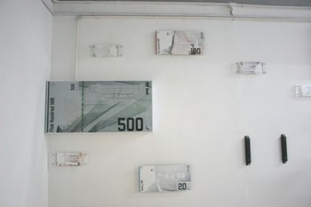 Map Office, HARMoney, 2009, lightboxes, mounted diatrans, digital prints and video