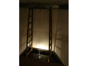 Granular Graph,2010, water, ladder, wooden board, motors, light sensor, speakers