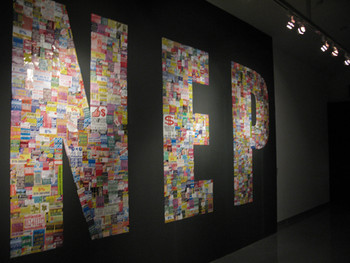 Image: Roslisham Ismail, <i>NEP (New Economic Policy)</i>, 2009, stickers collaged on wall.
