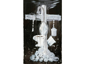 Design for a Crucifixion (Cross with Water Closet and Shower), 2010, acrylic on canvas.