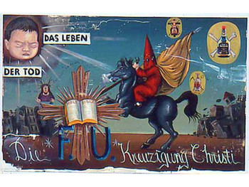 Die Kruzigung Christi, 1993, acrylic and collaged color Xerox on canvas. Photo courtesy Artsenecal