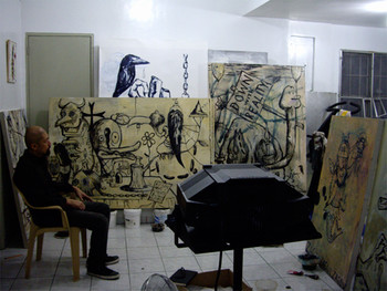 Manuel Ocampo in his studio, Marikina City, Philippines, 2007. Photo by Ringo Bunoan