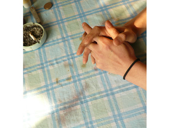 Hand-painted cloth used as tablecloth, 2009, acrylic on fabric, photo document
