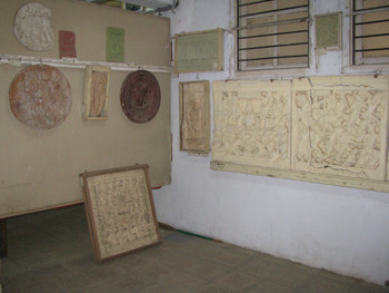 Image 14: plaster cast copies of Indian sculptures from the Amaravati period