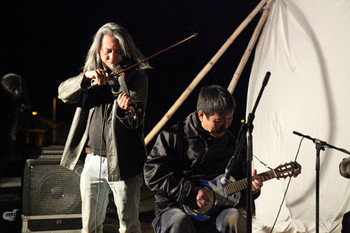 Kung Chi Shing and Yank Wong Yan Kwai performing at Choi Yuen Tsuen Arts Festival