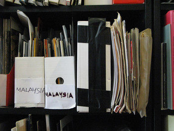 Material on Malaysian contemporary art, photo taken from a reading room in Kuala Lumpur.