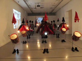 Jompet Kuswidananto, Indonesia, Java Phantasmagoria, 2008, kinetic sound and video installation.