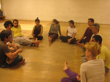 Image: Arai Shinichi (far left), performance practitioners and students at TUCA in Sao Paulo, Brazil.