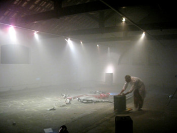 Exhibition space filled with smoke after a performance by Wu Cheng Dian