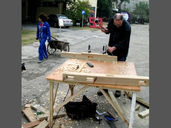 Left to Right: Nadia Capitaine, Untitled, performance, Bill Drummond, Making a Bed, performance