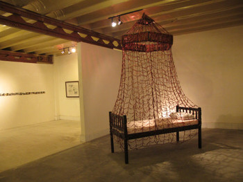 Installation view, Front: Sakshi Gupta, Reality Bites, 2006, Dried chilies, cot, 77 x 39 x 128 in approx.; Back, photographic and digital<br/> collage artworks by Sheela Gowda