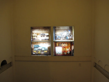 Installation view of light-boxes by Archana Hande