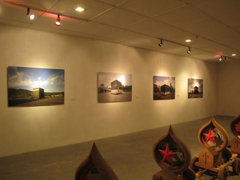 Installation view (on wall), Wimo Ambala Bayang, Ka'bah, 2011, photography mounted on aluminum, 4 parts, 100 x 150 cm