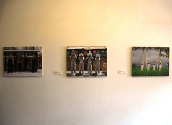 Installation view, Arya Pandjalu and Sara Nuytemans, (L-R) Birdprayers #6,Berlin; Birdprayers #2, Yogyakarta; Birdprayers #1 Ubud,<br/> 2007-2010, lambda on diasec, 60 x 80 cm