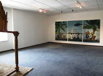 Installation view of the wall, K P Reji, School, 2011, oil on canvas, 210 x 150 cm (triptych)