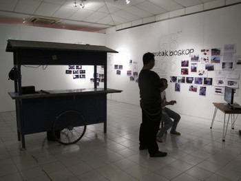 Installation view, Ruangrupa, Gerobak Bioskop (Movie Wagon), 2011, Community project in Gunung Kidul